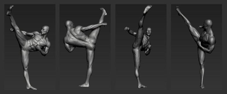 kicking pose fighting model
