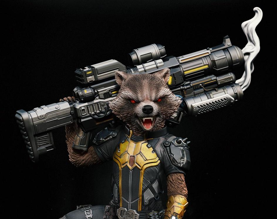 Rocket Raccoon 1/4 statueby Robson Barros