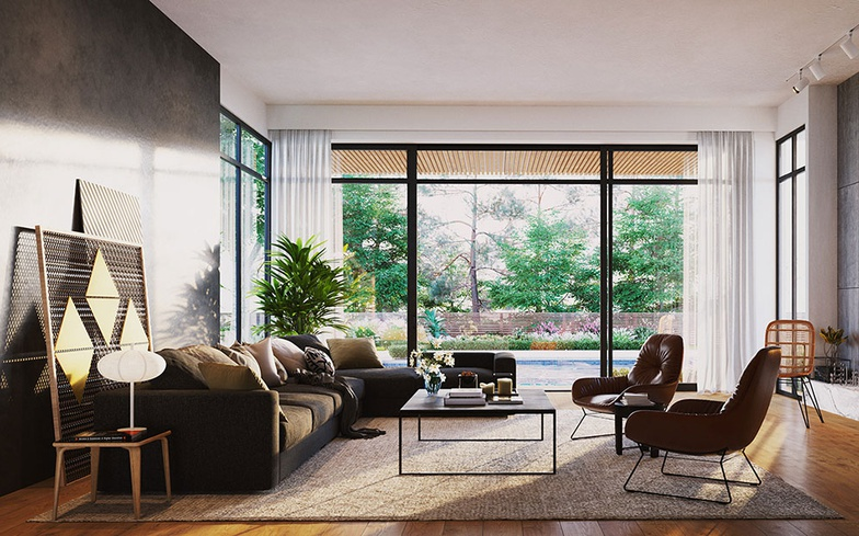 arch-viz, sofa, window, garden, modern living room