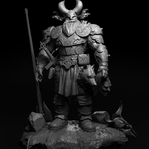monochromatic 3d model sculpt male warrior