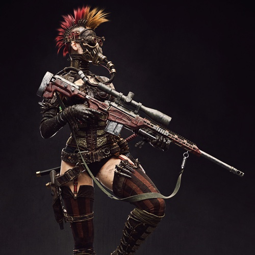 steampunk female character 3d