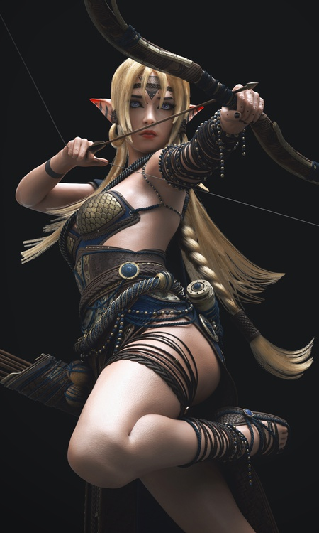 elf archer fantasy character box arrow fighting pose 3d render