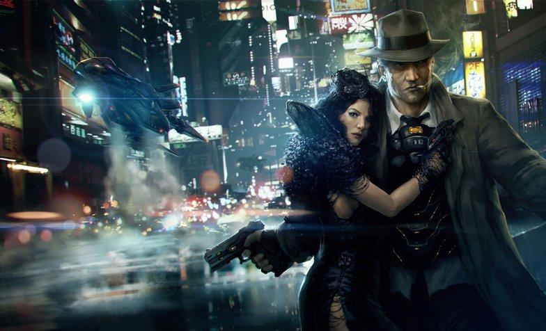 Cyberpunk couple in city