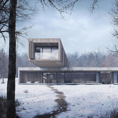 winter house arch-viz