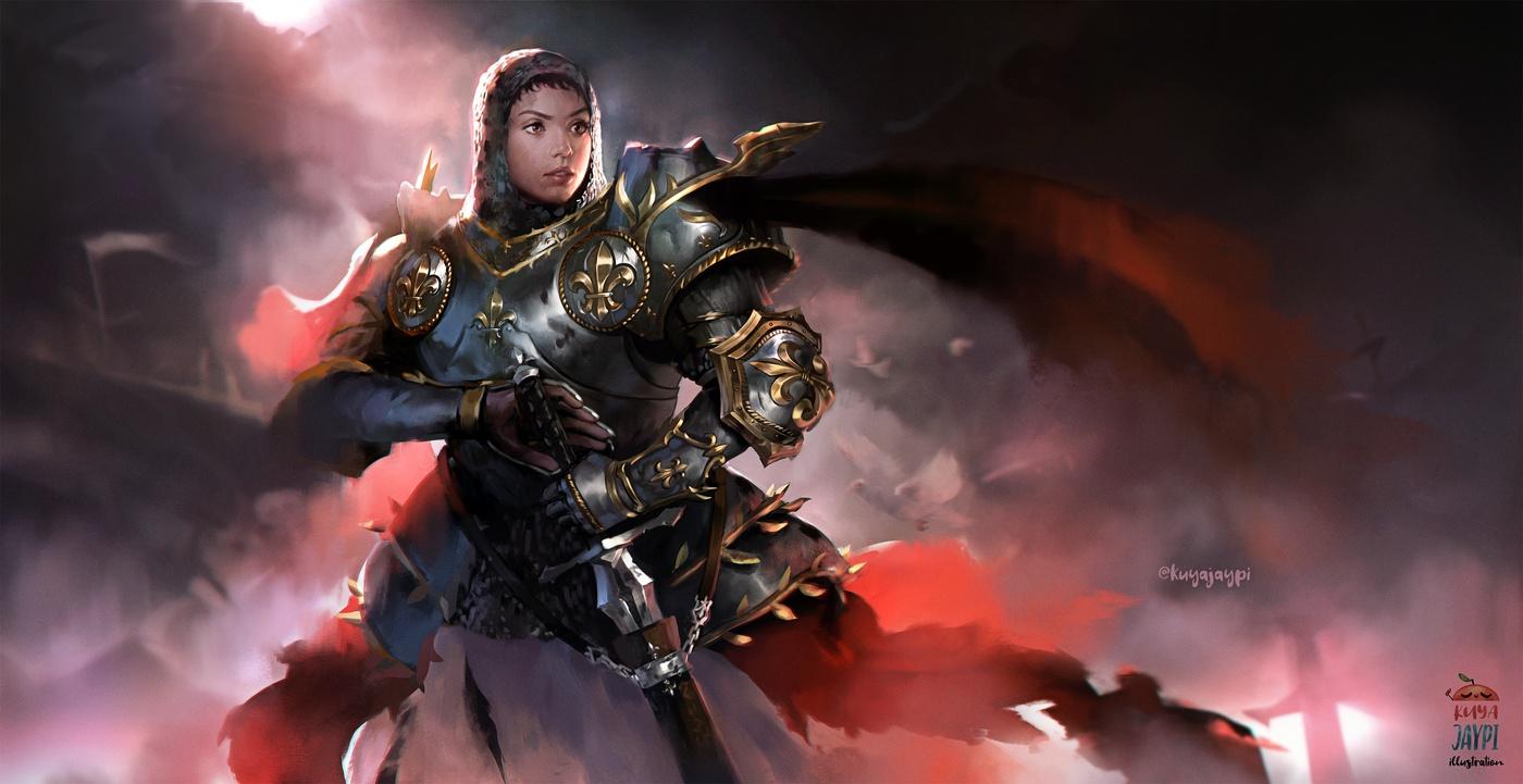 2d illustration detailing warrior outfit metallic materials