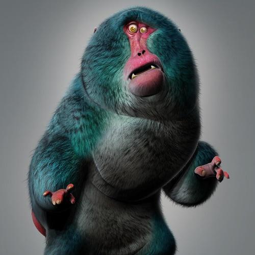 fluffy animal character design 3d render