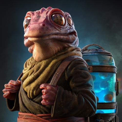frog lady amphibian creature  design 3d character model