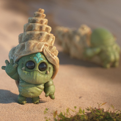 sea shell beach 3d creature design