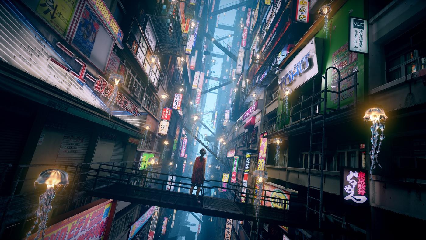 asian japanese cityscape sci-fi signage 3d model settings