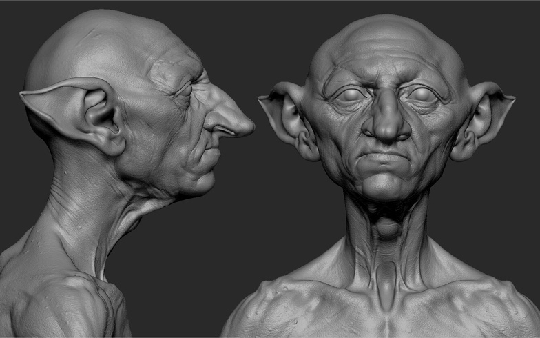 goblin 3d model render close up profile