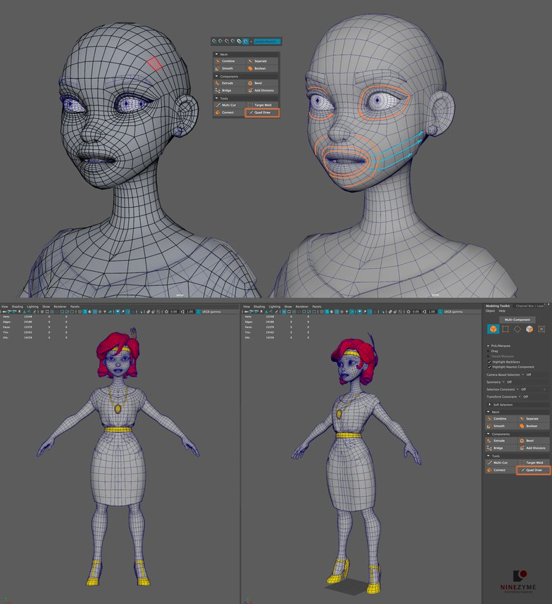 Retopology low-poly 3d female model