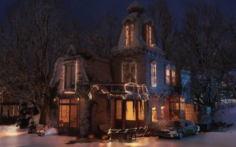 3d, generalist, house, modern, lights, car, xmas