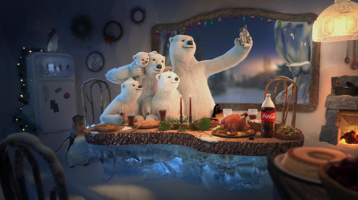 polar bear family with Coca-Cola