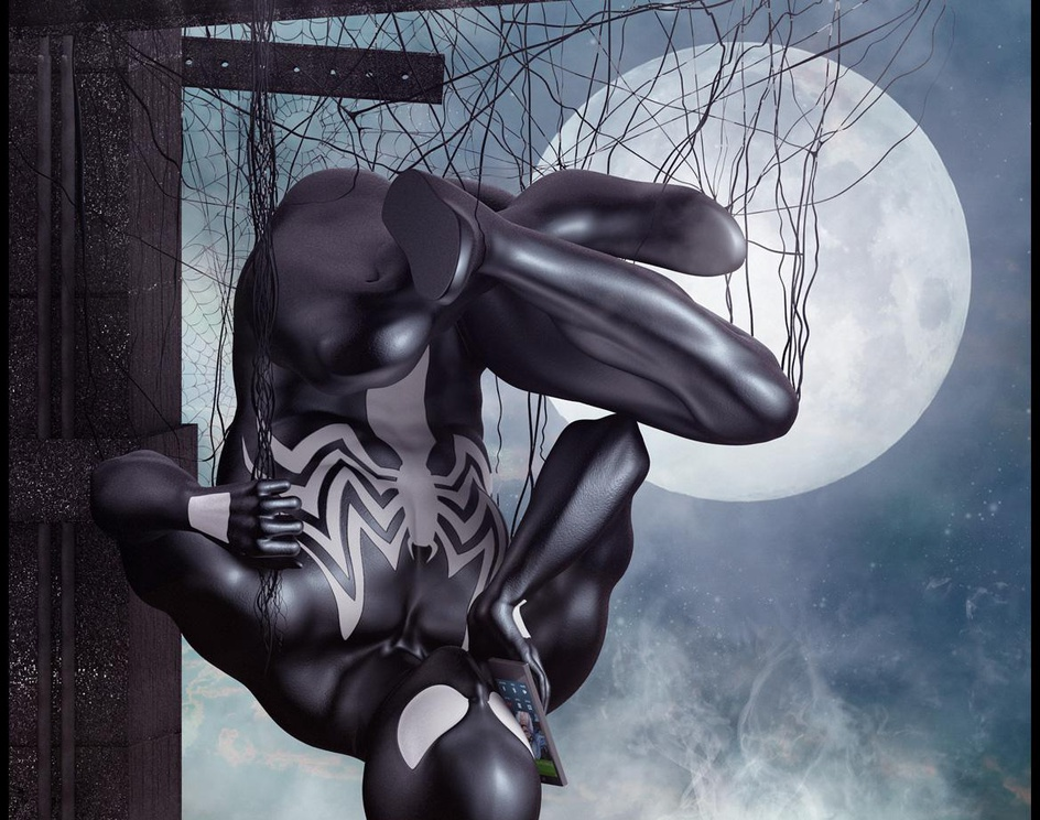 black spidey calling black catby Marc Mons