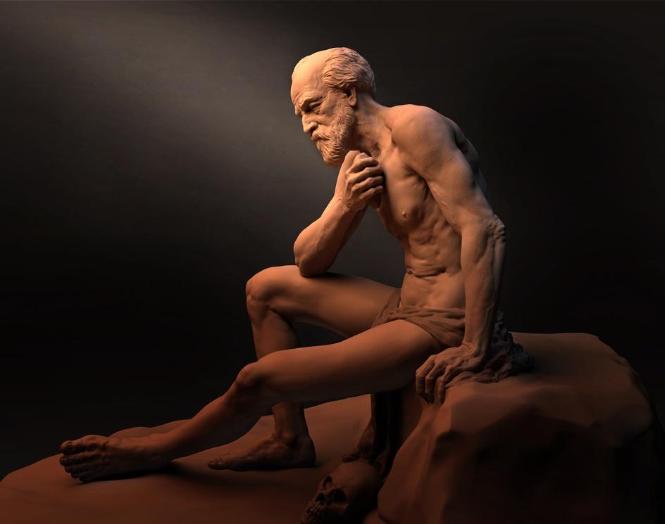 Old man Anatomy study-St.Jerome.by santhoshracha