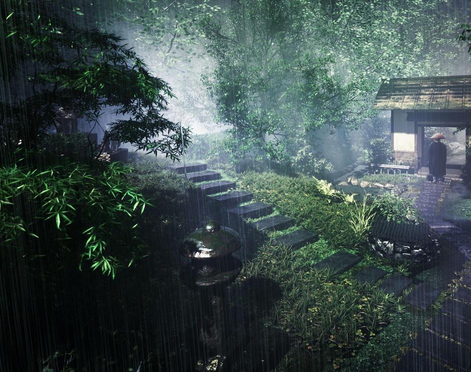 Japanese temple after the rainby Tomoya Ishikawa