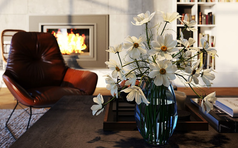 arch-viz, flowers, chair, fire