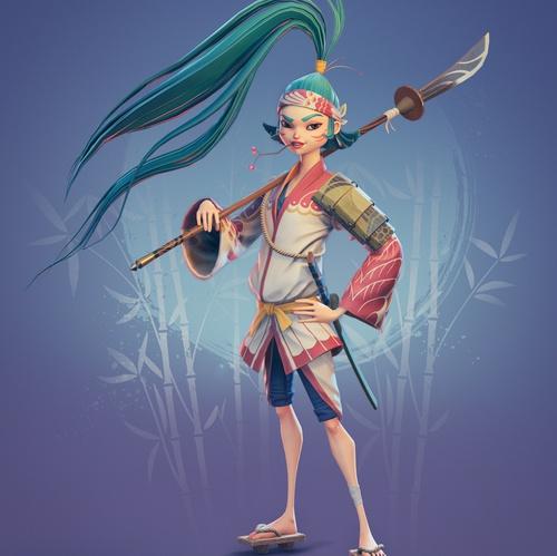 samurai female character 3d model