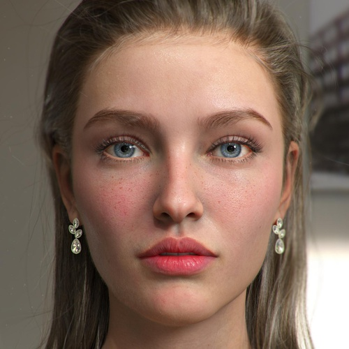 realistic portrait female character model render 3d