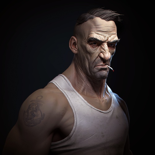 realistic portrait old male sailor