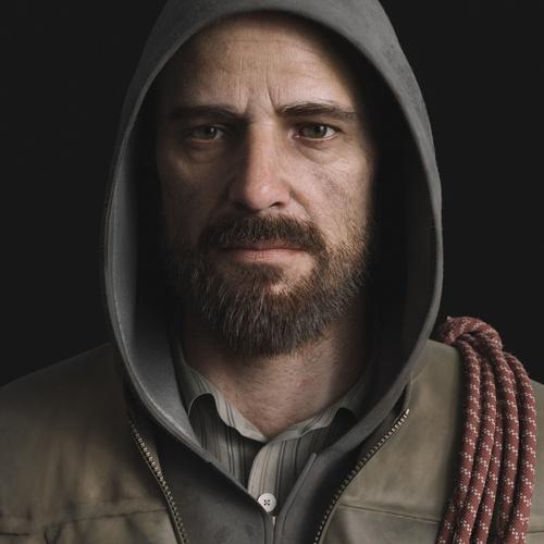 male character 3d model portrait design hoodie