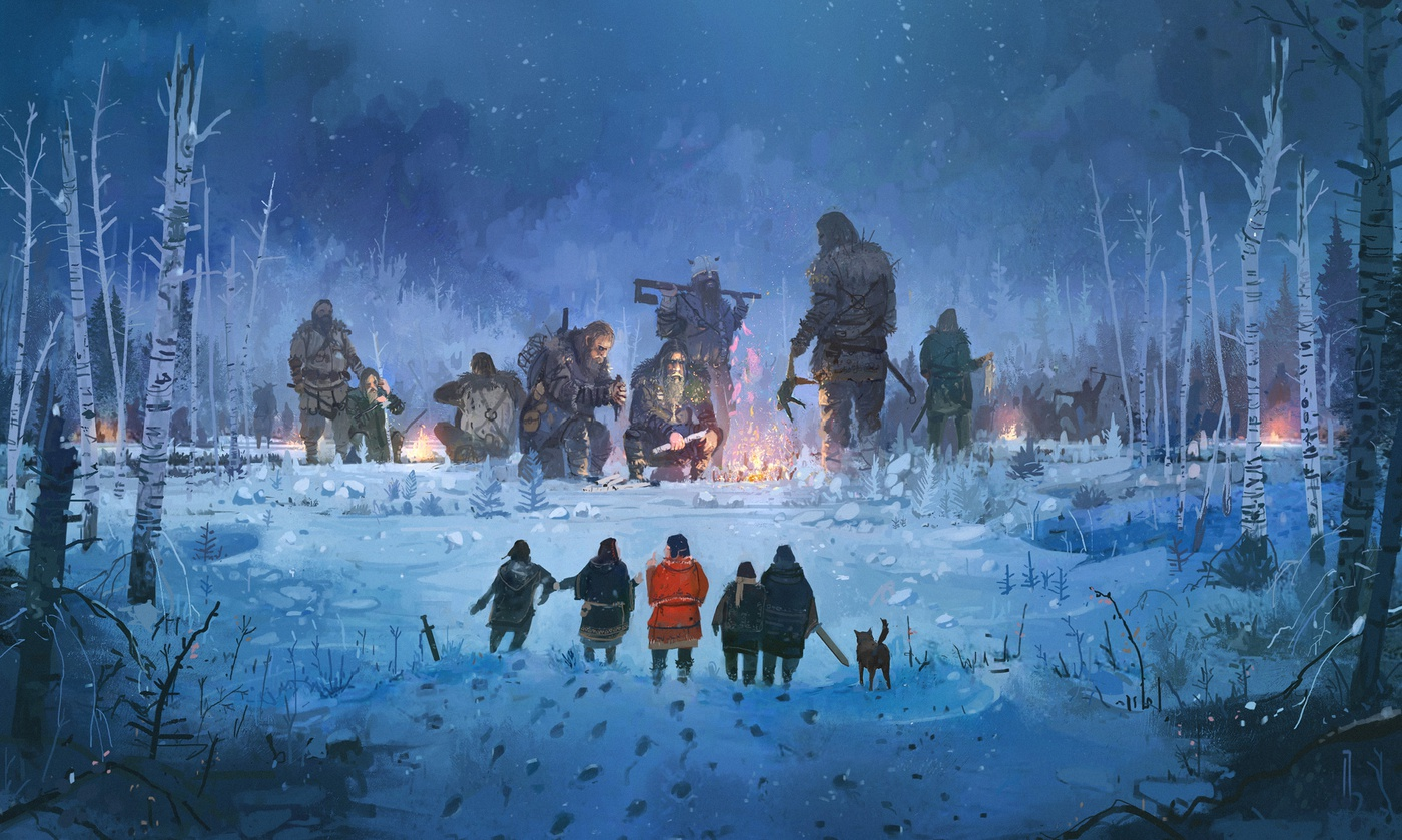 magical warrior vikings snowy scene