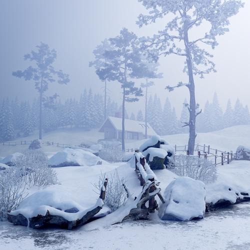 frozen winter cabin 3d design