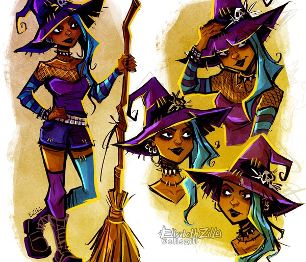 2d illustration gothic witch fun alternative fantasy character