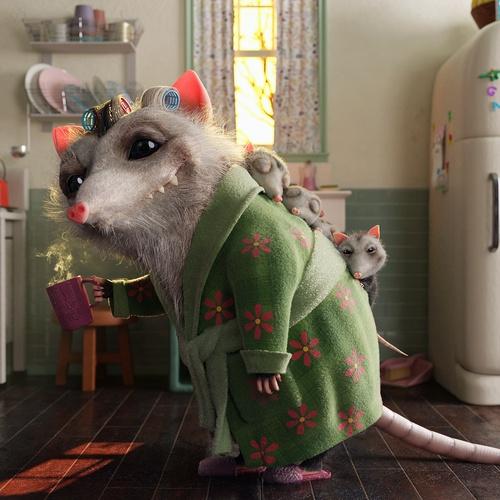 possum family creature animal design 3d sculpture environment