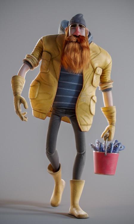 old man character design granpda 3d render model
