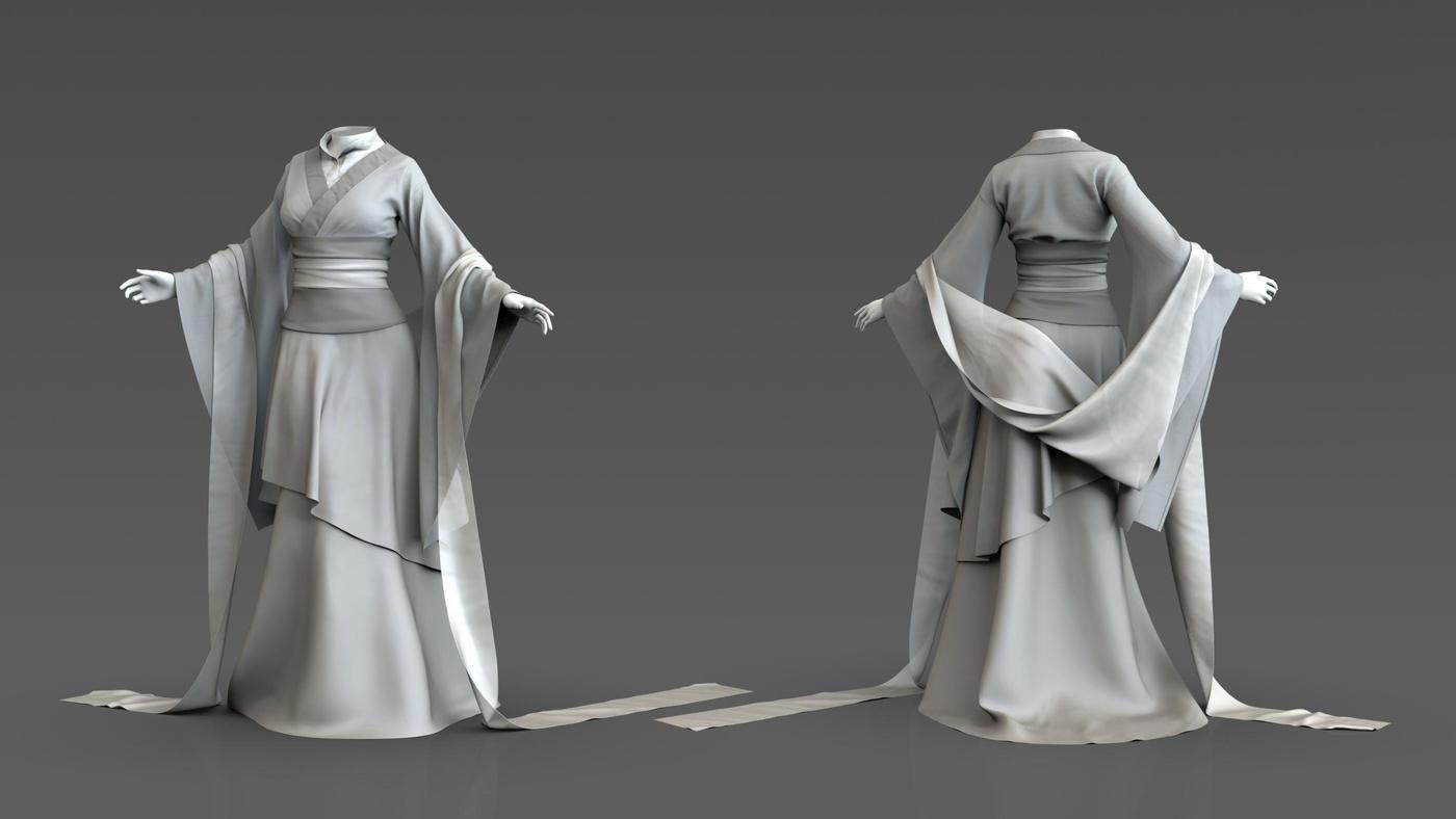 basic clay render 3d model front back