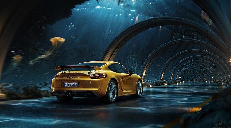 Porsche driving down an underwater Road