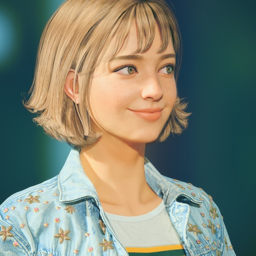 stylised female character design blonde woman portrait