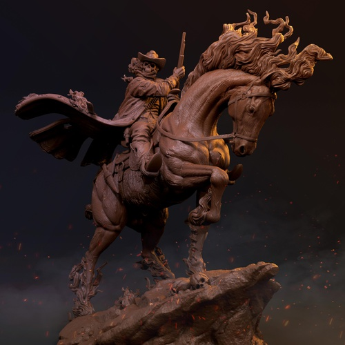 ghost rider 3d digital sculpture
