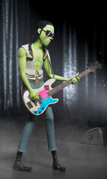 the gorillaz character design bassist musician 3d performance