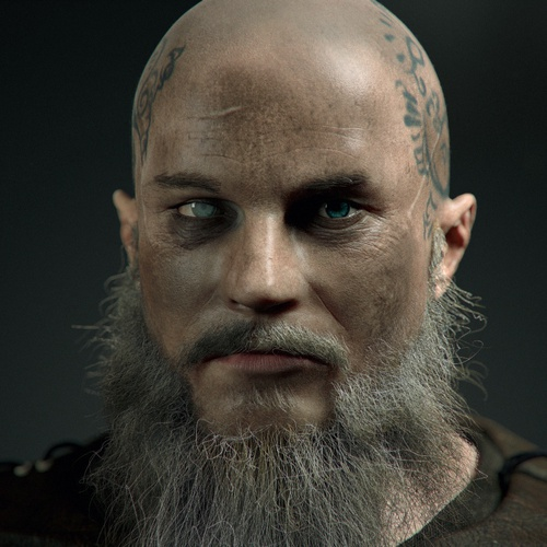king ragnar viking tv show model 3d render