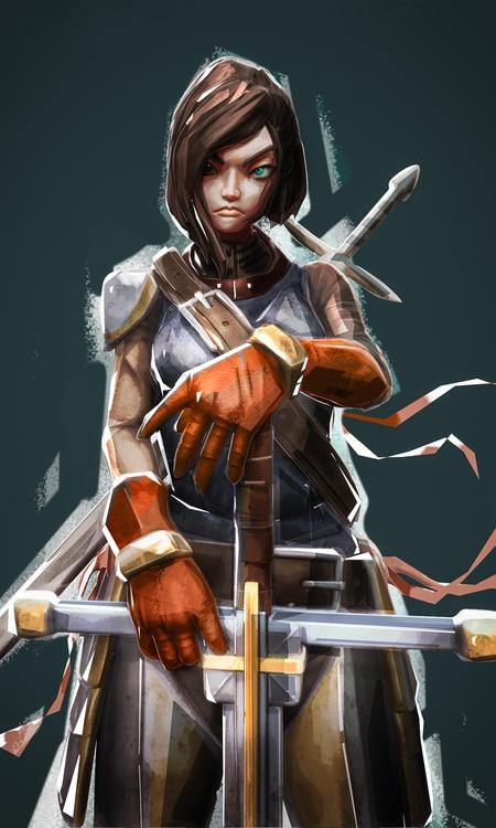 digital painting  2d warrior female character joan of arc