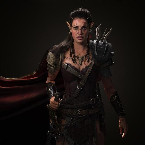 female elf warrior 3d
