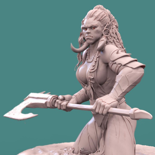 orc female warriow character design model 3d
