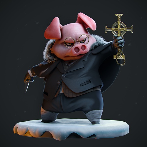 exorcist pig character 3d model