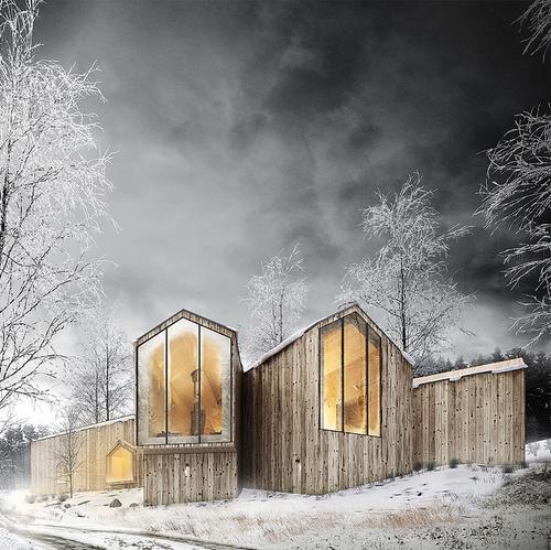 wooden housing winter scenery