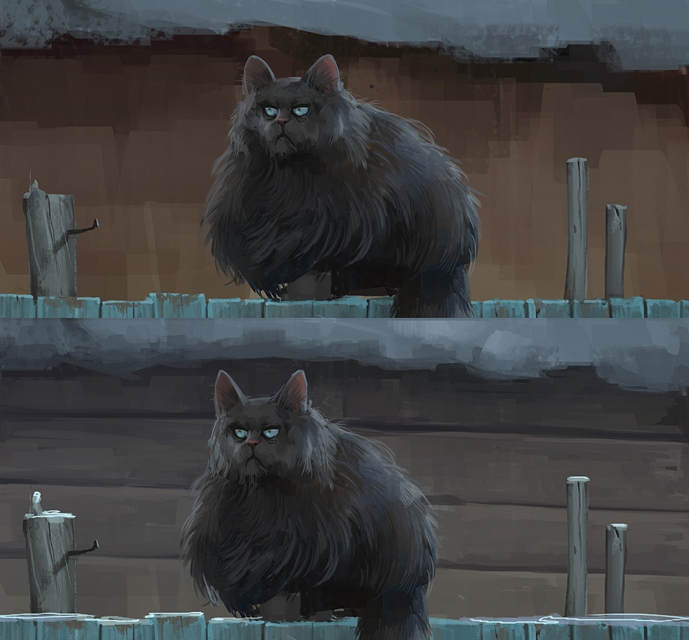 cat, fence, snow, stylized, grumpy, fur