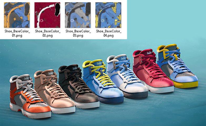 color variations for shoes models
