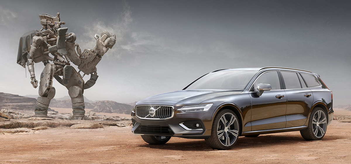 volvo car advertising in desert