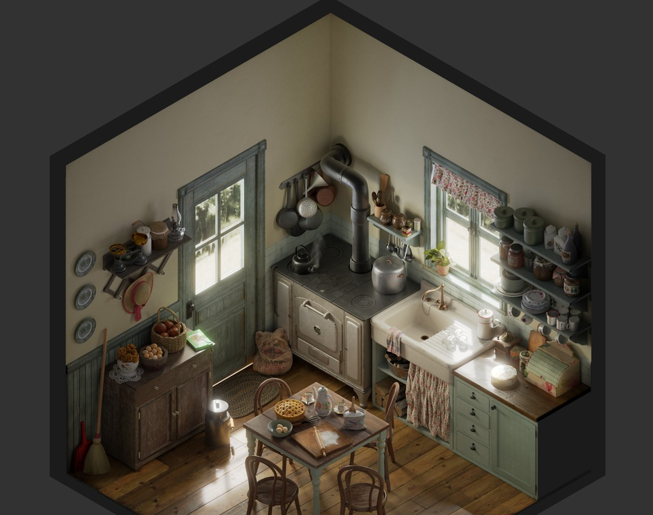 Vintage kitchen - Isometricby joseolmedo