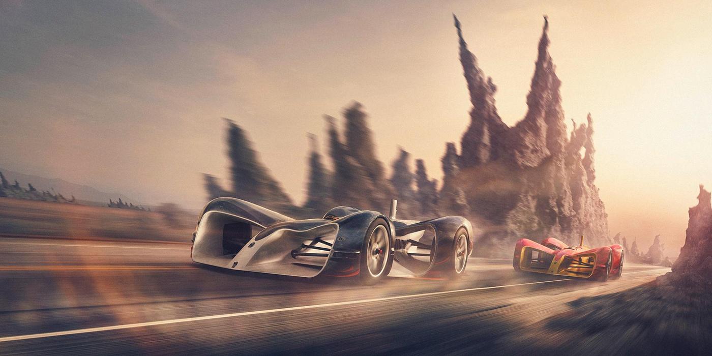 car race advertisement 3d model
