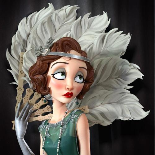 1920 flapper character design female model 3d character