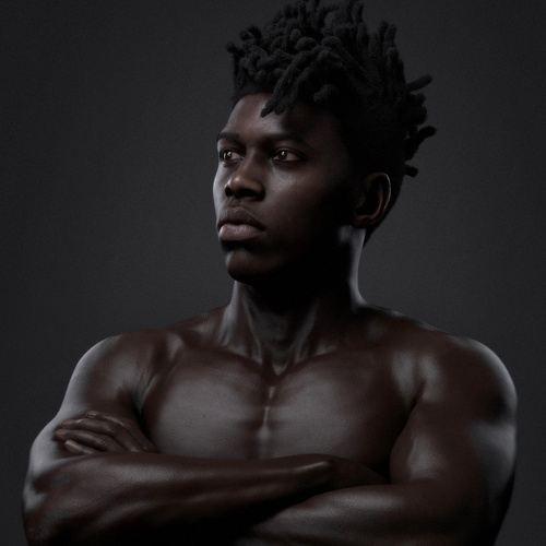 young male 3d model realistic render