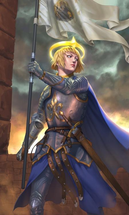 heroine flag pole warrior outfit illustration female character design