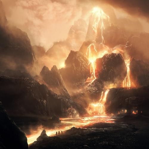 landscape concept art volcano